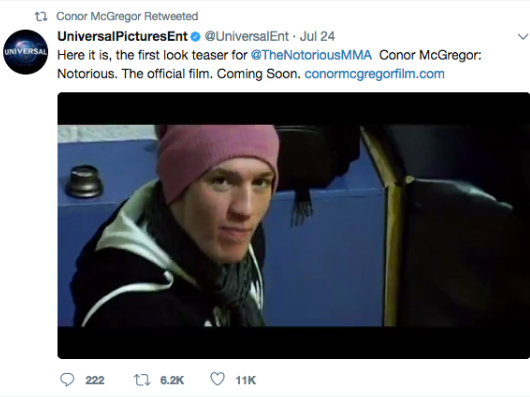 Universal Pictures tweets screen shot of Conor McGregor footage filmed by Dean Kelly. Used in his movie Notorious