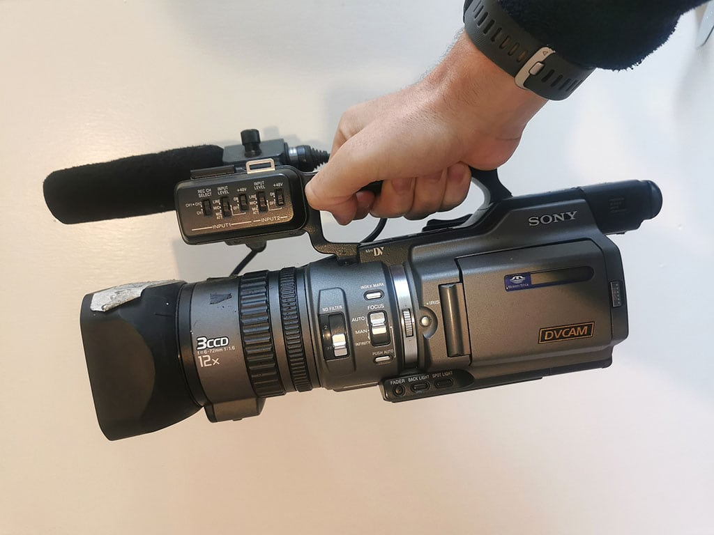 Video camera used to interview Conor Mcgregor in 2008. Archive video footage collection, The Irish MMA Tapes